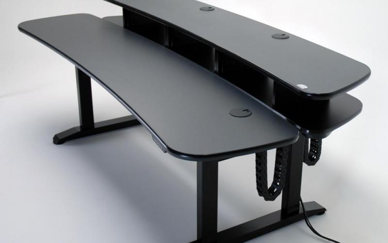Ergo Duet height adjustable edit desk with rack mount space