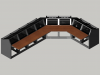 8 bay Logic System J shaped control room console