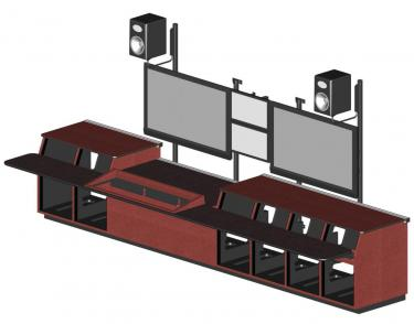 Master Control Console with monitor wall rendered