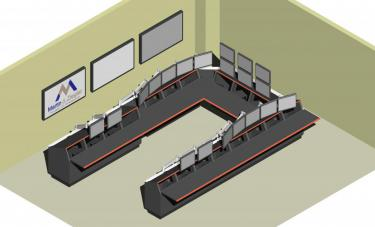 Control room console and monitor render