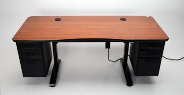 Adjustable height office desk with optional drawers