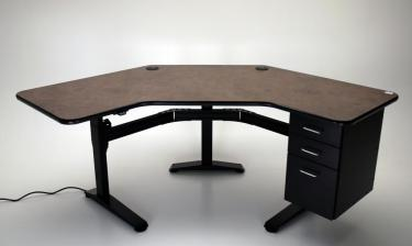 Ergo Corner height adjustable desk with drawers