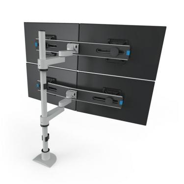 4 monitor pole mount in silver